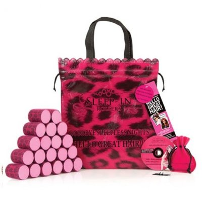 Sleep In Rollers, Hårrullar, Pink Leopard Set, 20st
